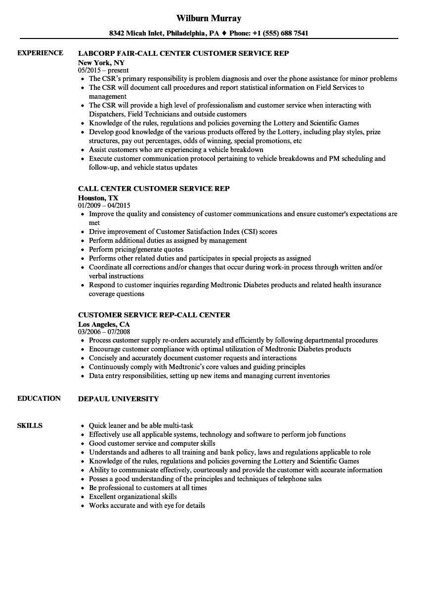 call center customer service rep resume samples