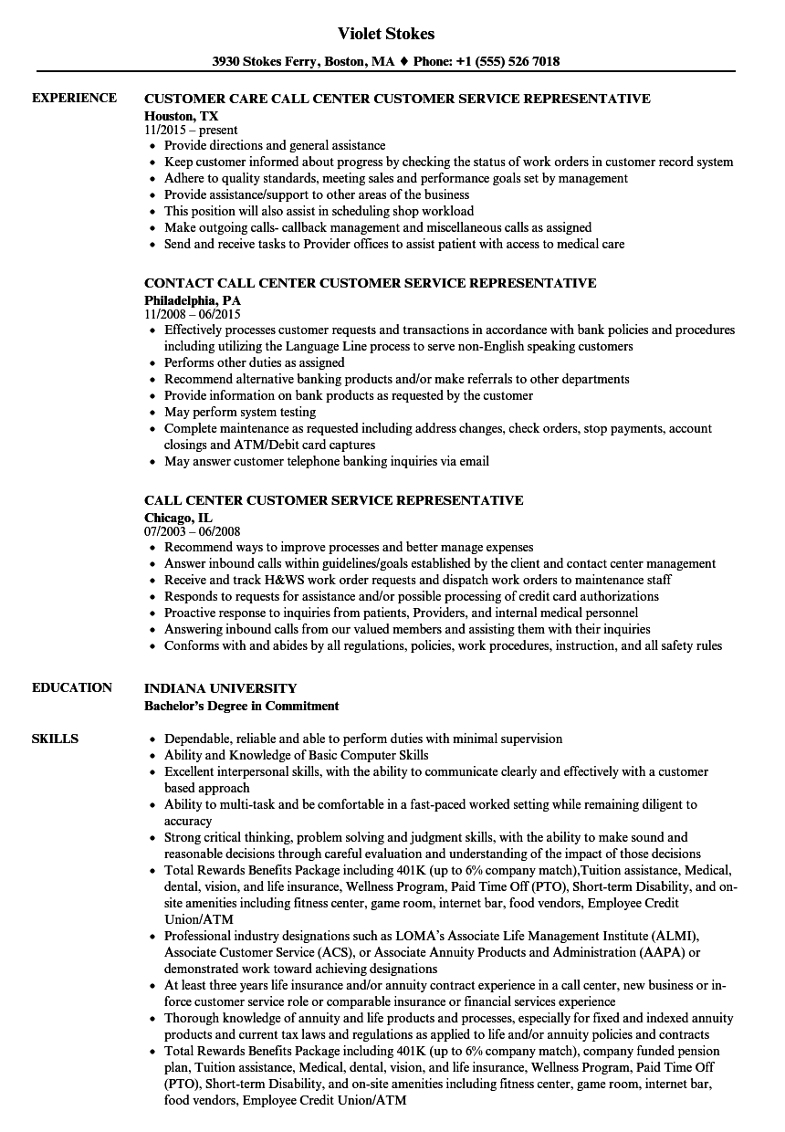 resume for call center application