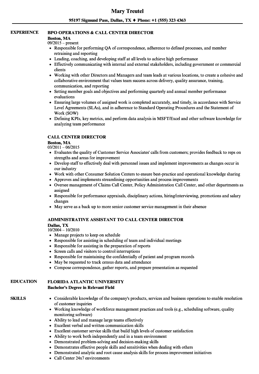 Call Center Director Resume Samples | Velvet Jobs