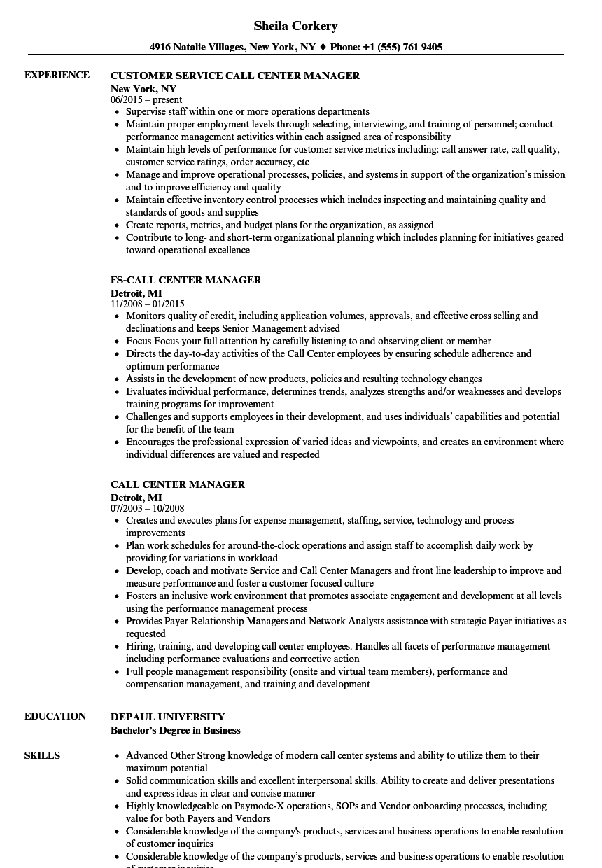 Call Center Manager Resume Samples Velvet Jobs