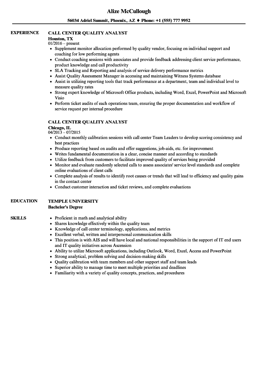 Call Center Quality Analyst Resume Samples | Velvet Jobs