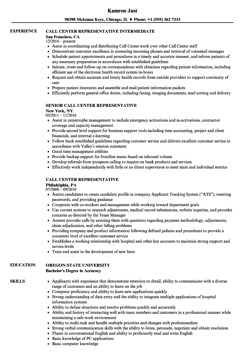 Call Center Representative Resume Samples Velvet Jobs
