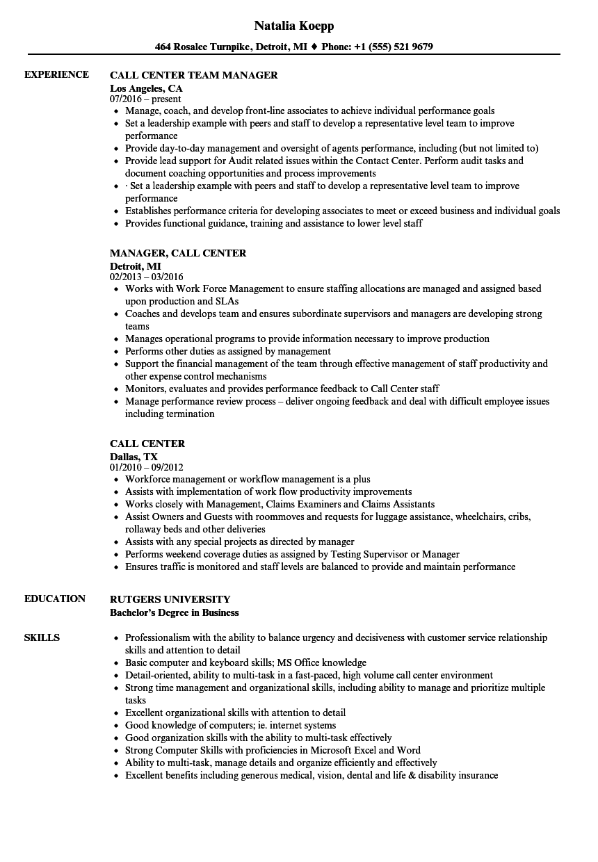 Call Center Resume Samples | Velvet Jobs