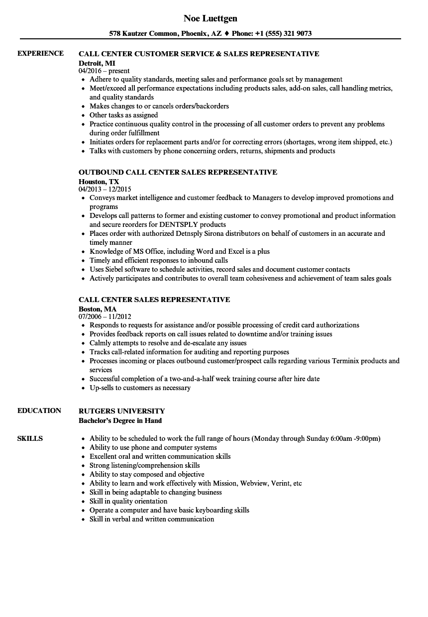 Call Center Sales Representative Resume Samples | Velvet Jobs