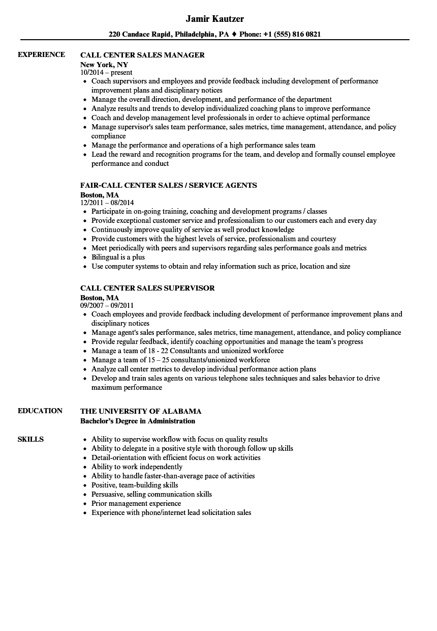 call center sales resume samples