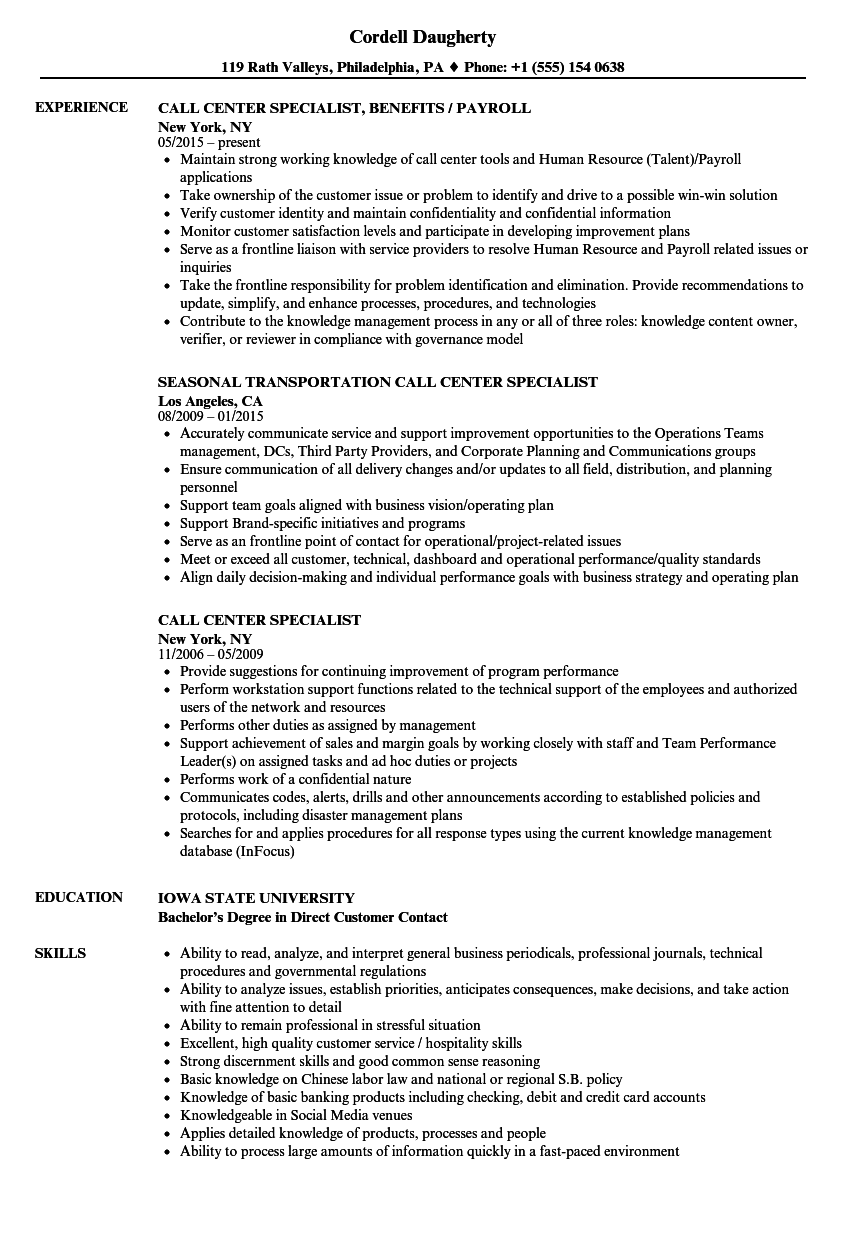 call center specialist resume samples