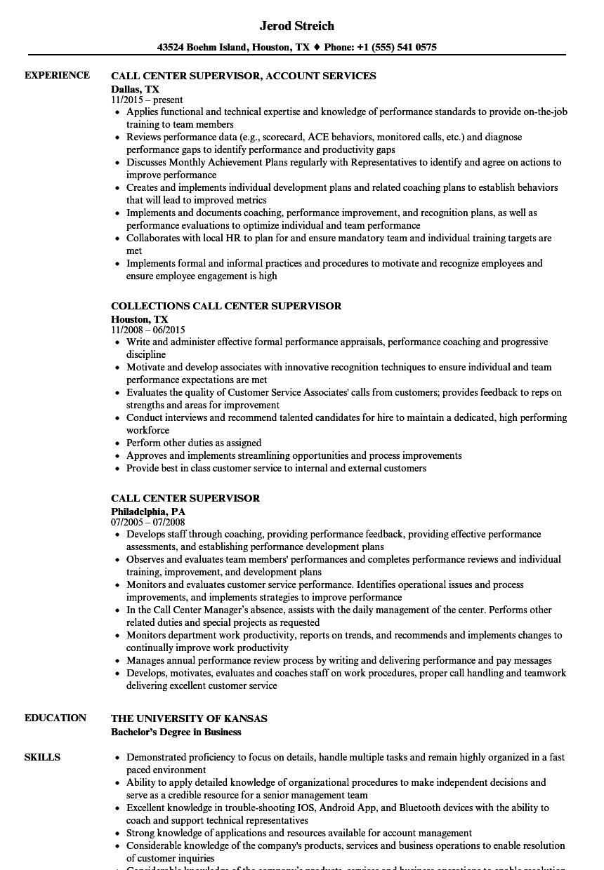 Call Center Supervisor Resume Samples Velvet Jobs