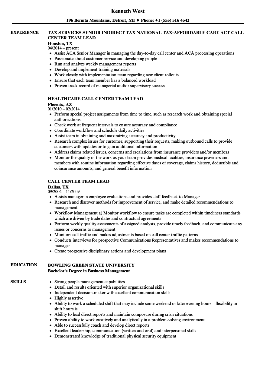 Call Center Team Lead Resume Samples Velvet Jobs