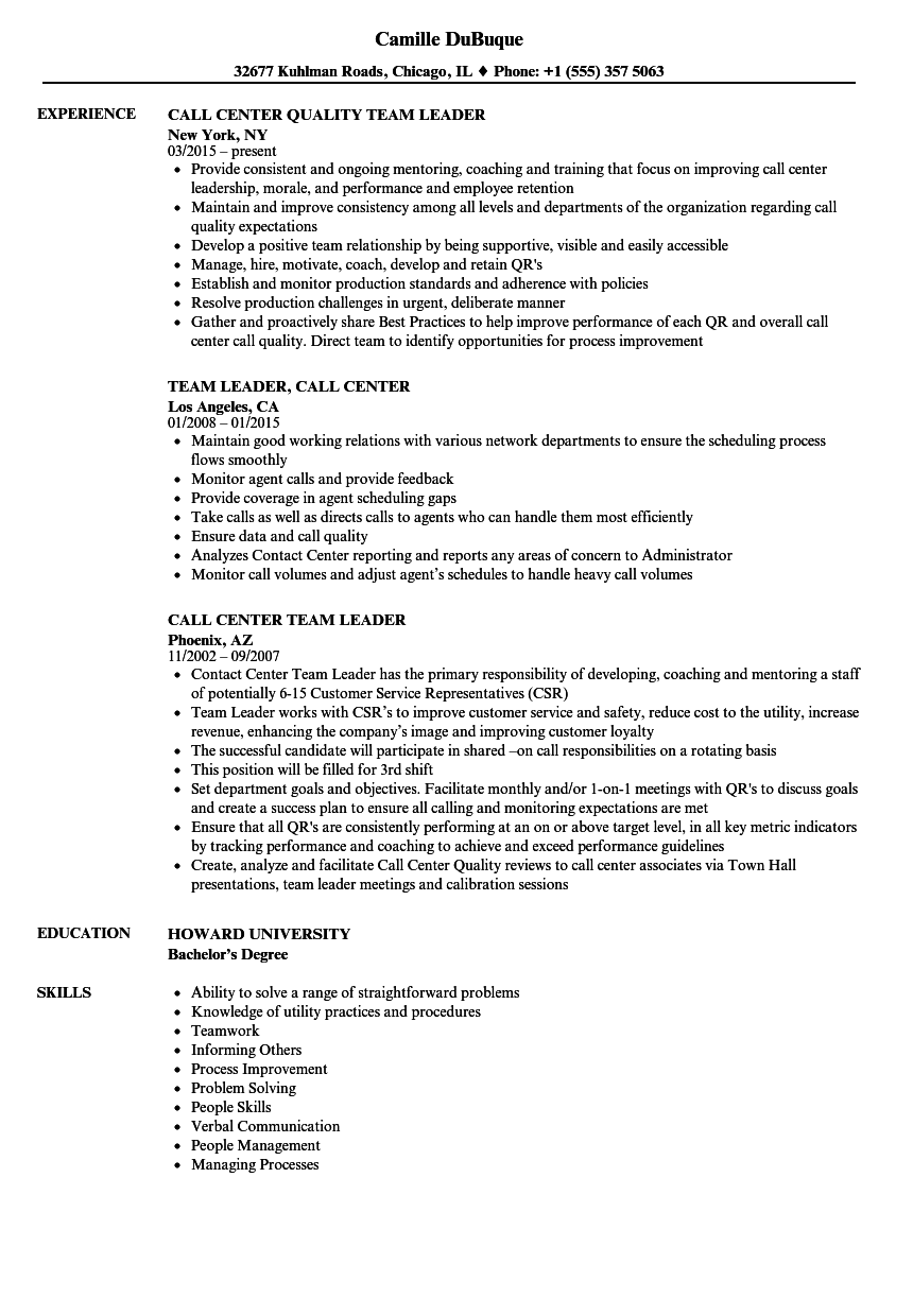 Call Center Team Leader Resume Samples Velvet Jobs