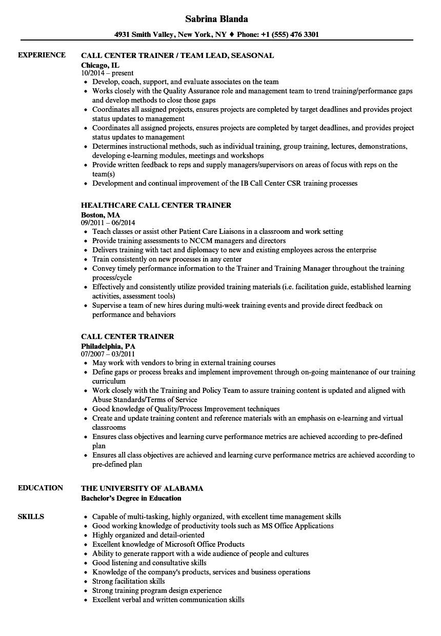 Call Center Trainer Resume Samples | Velvet Jobs
