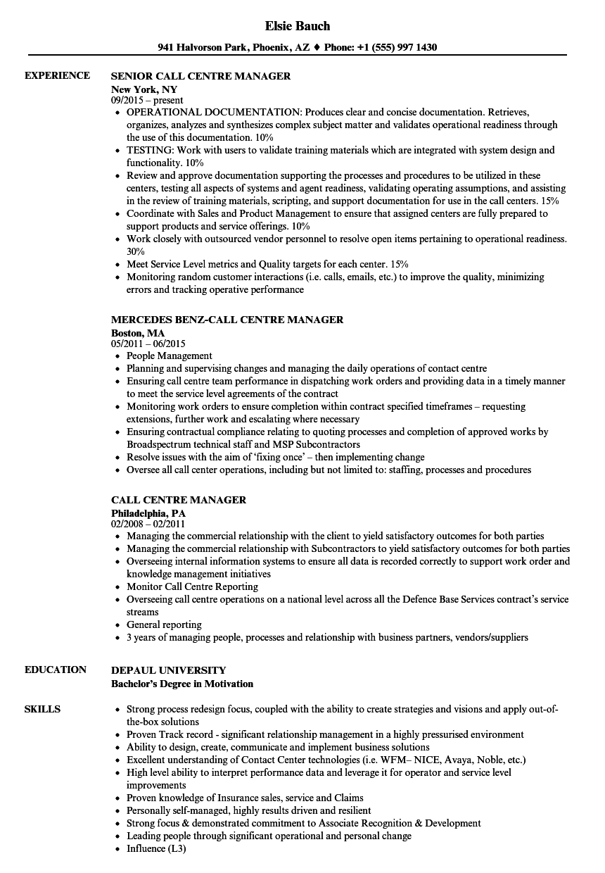 call centre manager resume samples