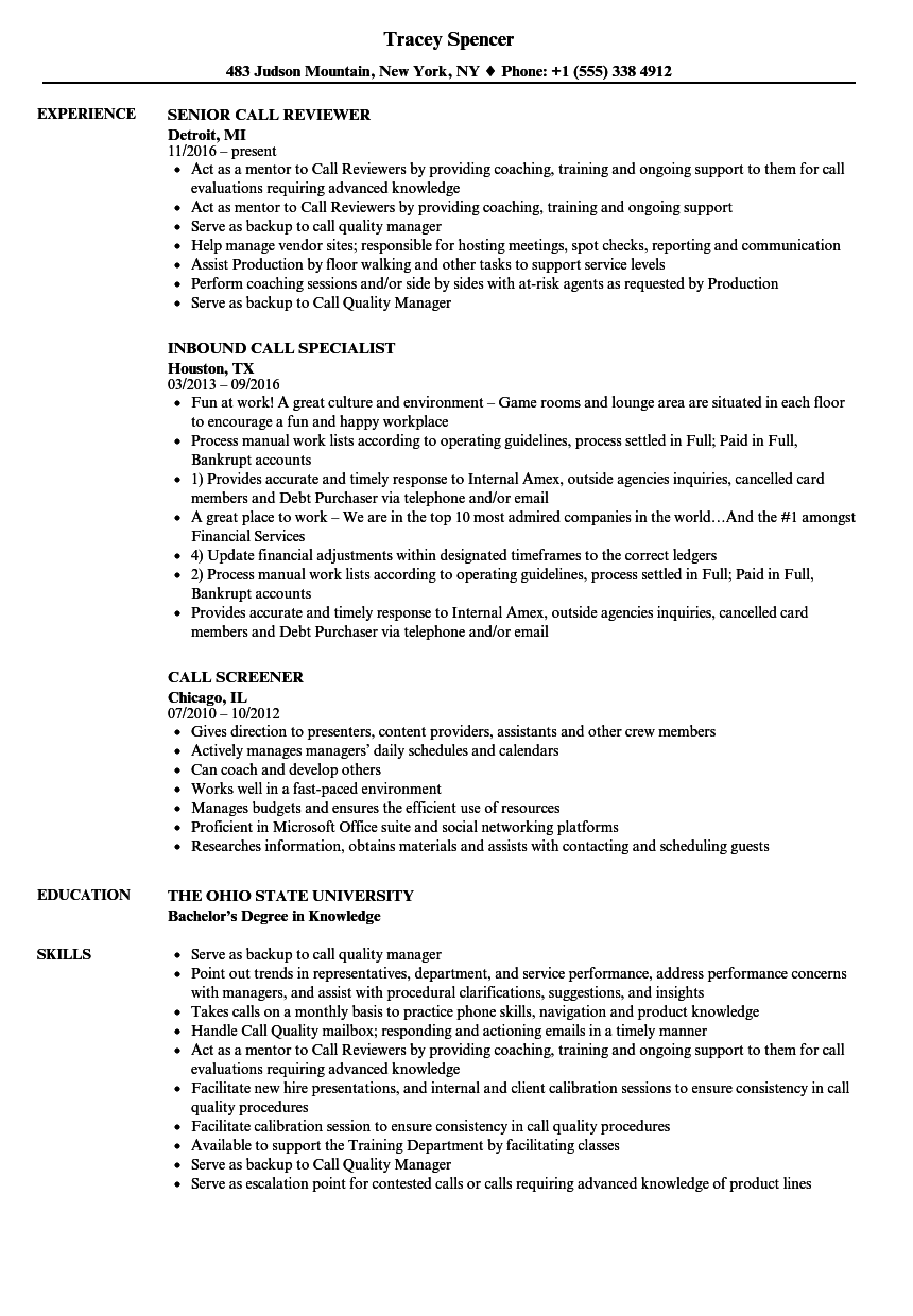 Call Resume Samples Velvet Jobs