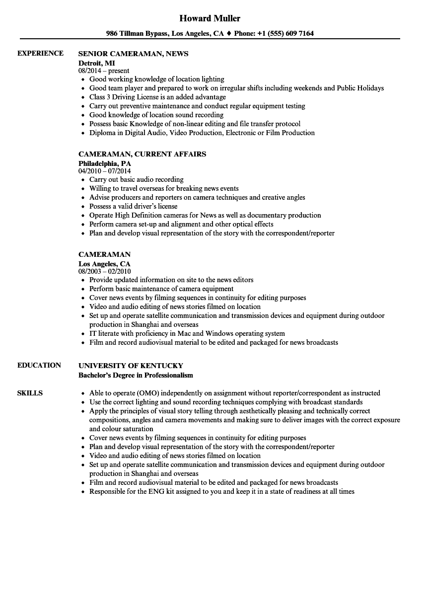Cameraman Resume Samples | Velvet Jobs