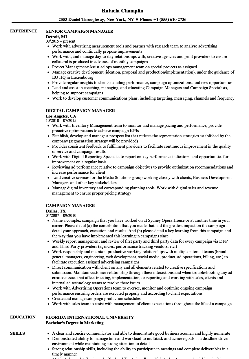 campaign manager resume samples