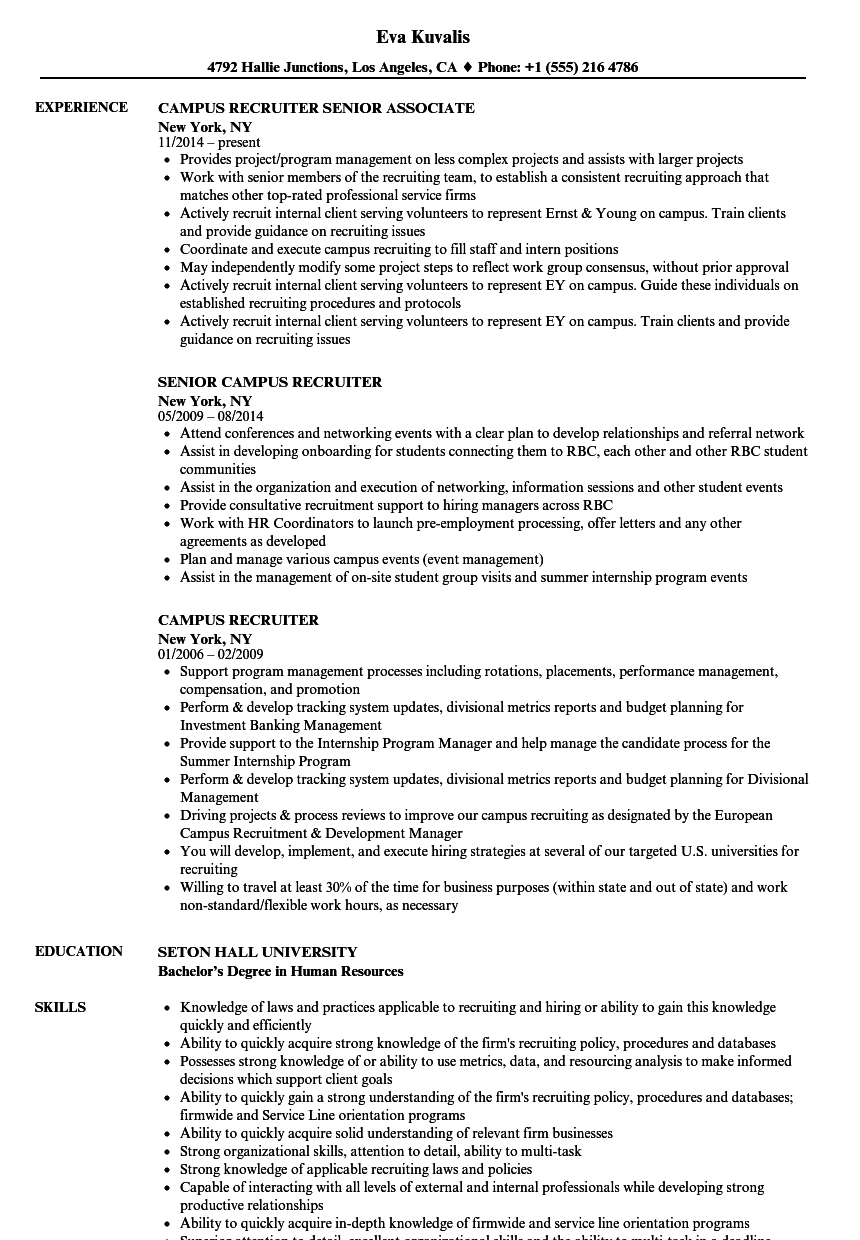 Campus Recruiter Resume Samples | Velvet Jobs