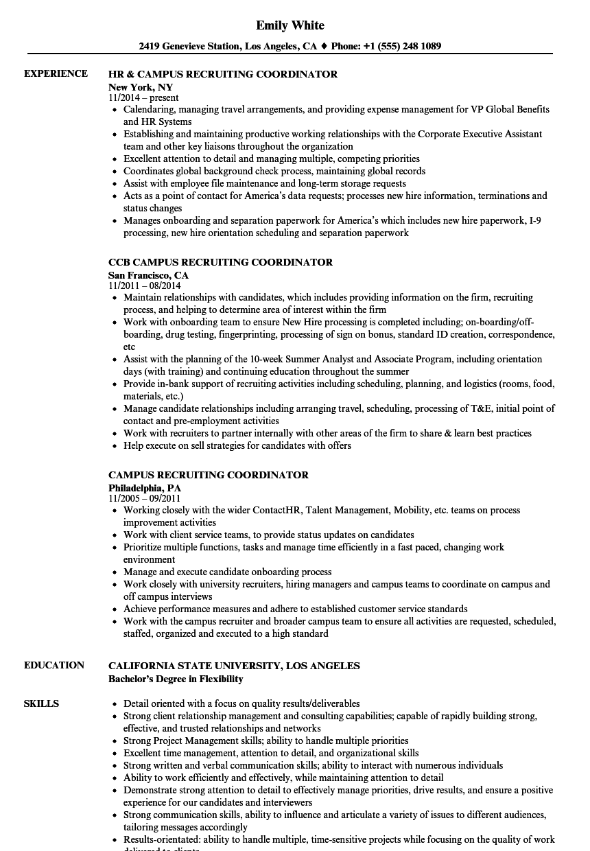 Campus Recruiting Coordinator Resume Samples | Velvet Jobs