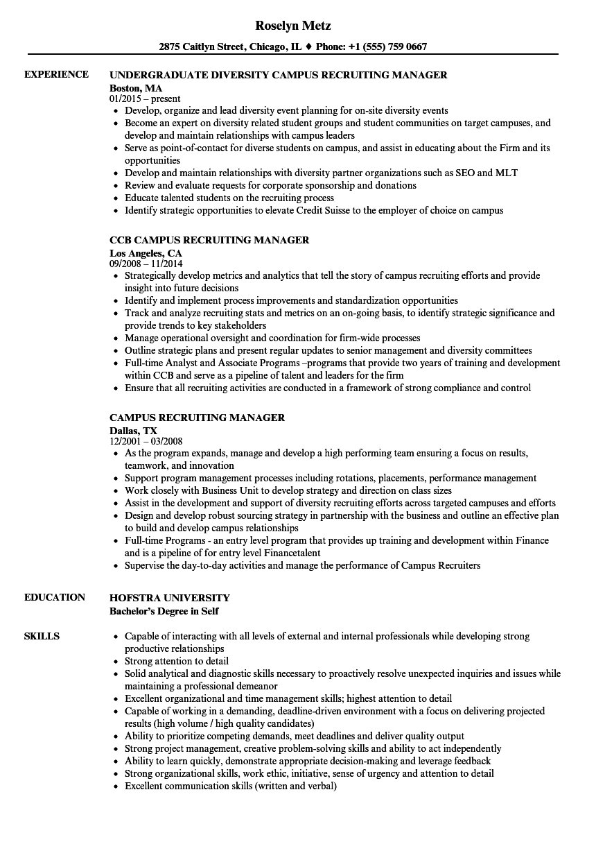 campus recruiting manager resume samples velvet jobs
