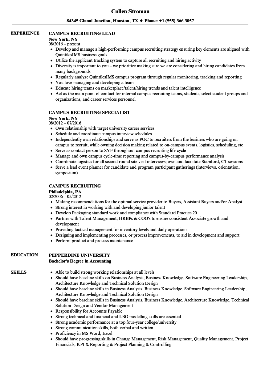 campus recruiting resume samples