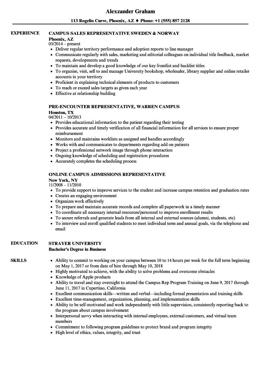 campus representative resume samples