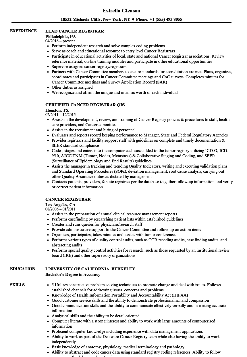 Download Cancer Registrar Resume Sample As Image File