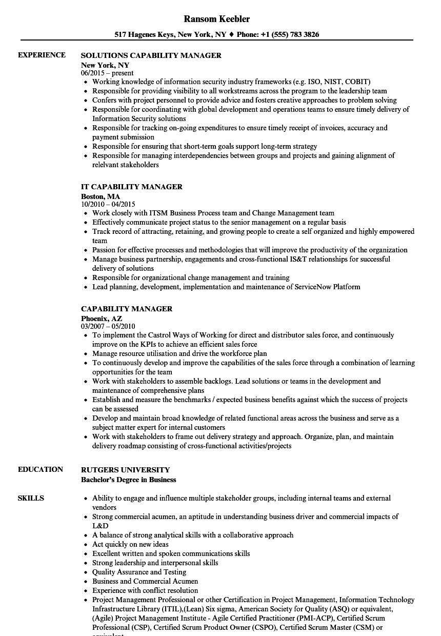 capability manager resume samples