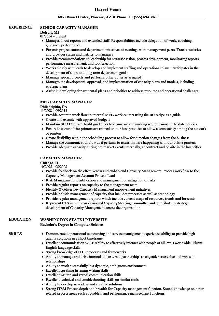 Capacity Manager Resume Samples | Velvet Jobs