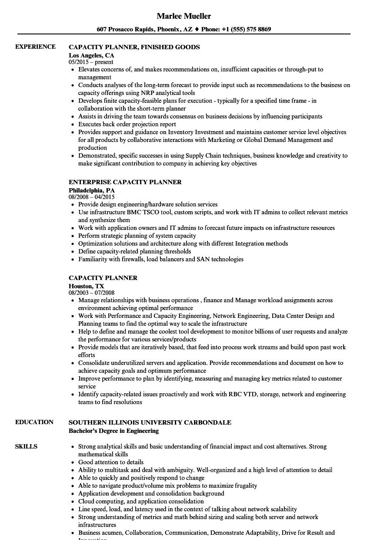 Capacity Planner Resume Samples | Velvet Jobs