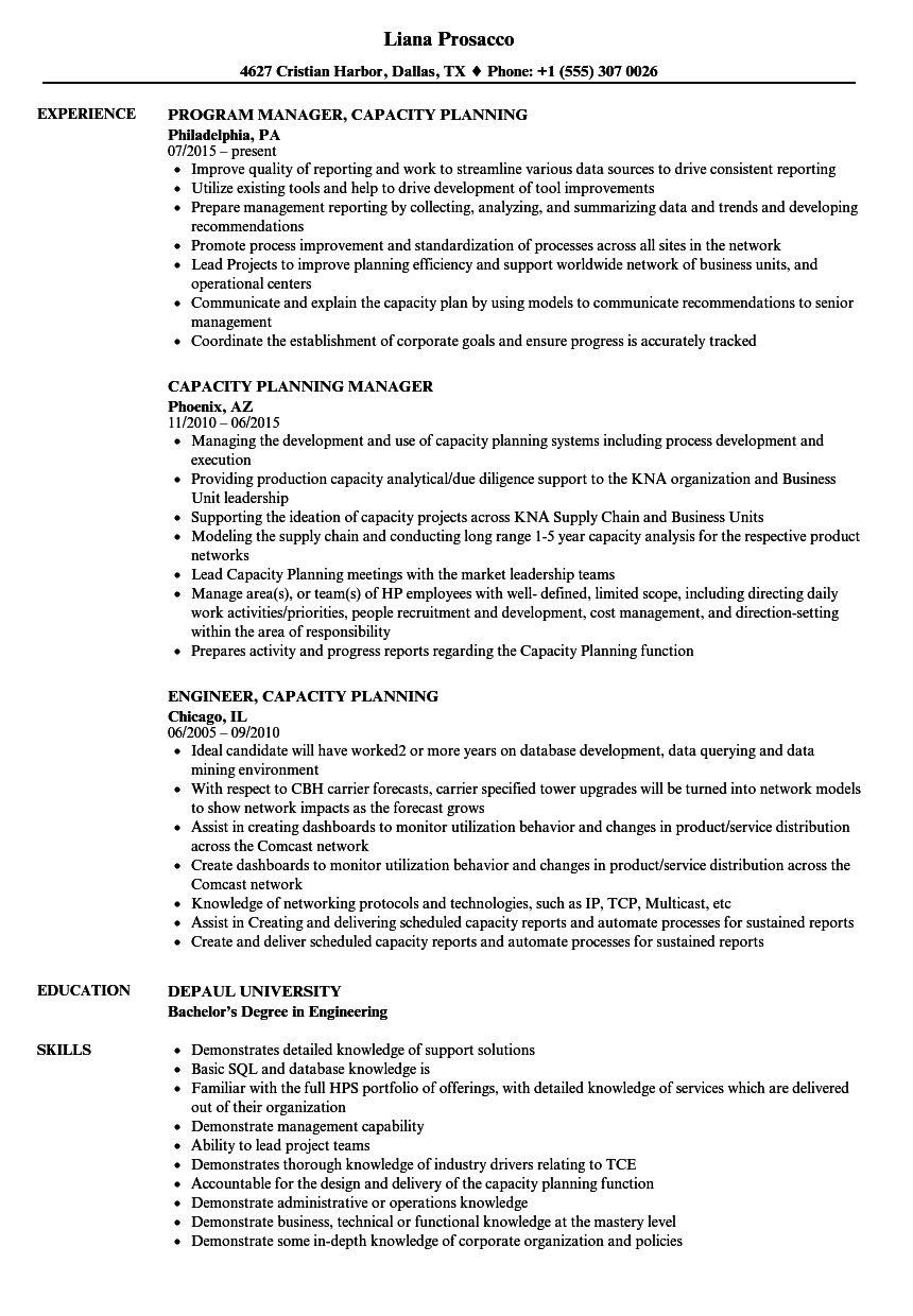 Capacity Planning Resume Samples Velvet Jobs