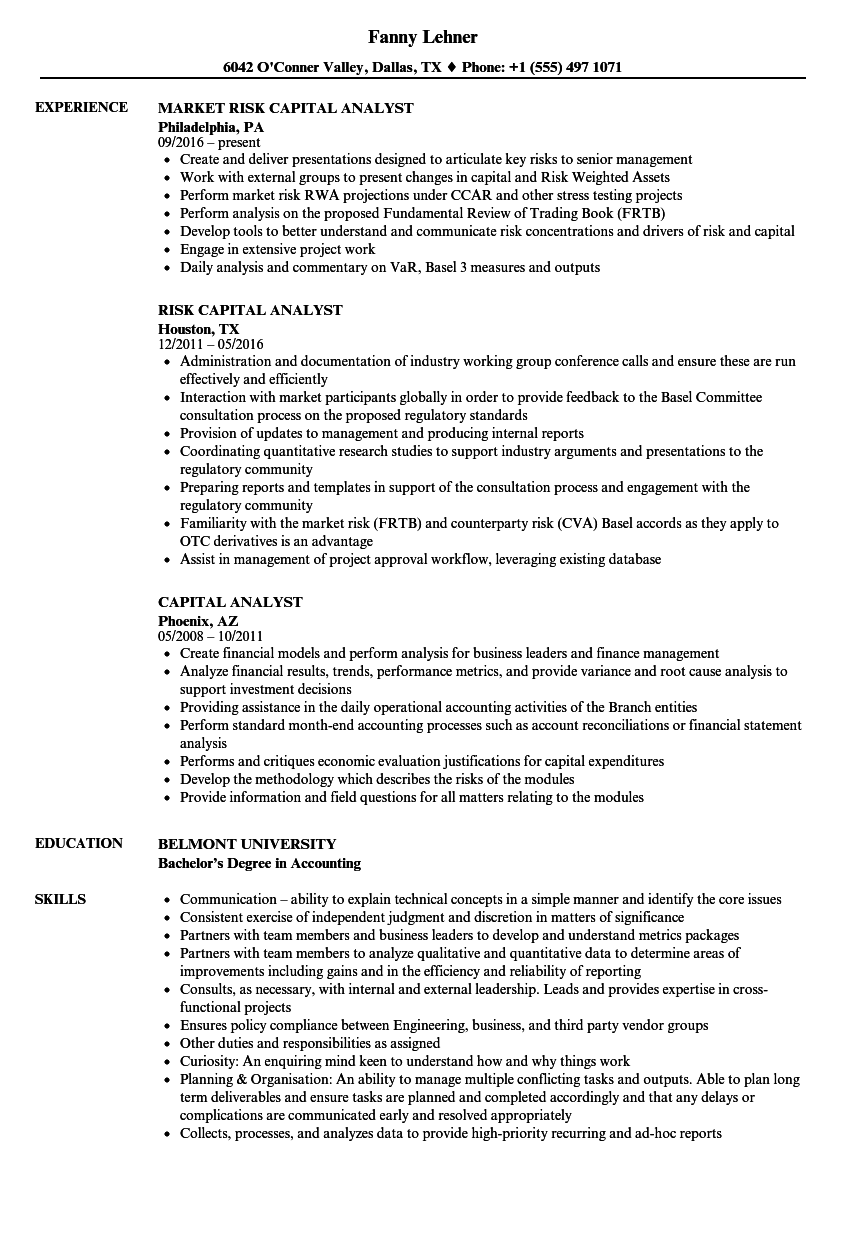 capital analyst resume samples