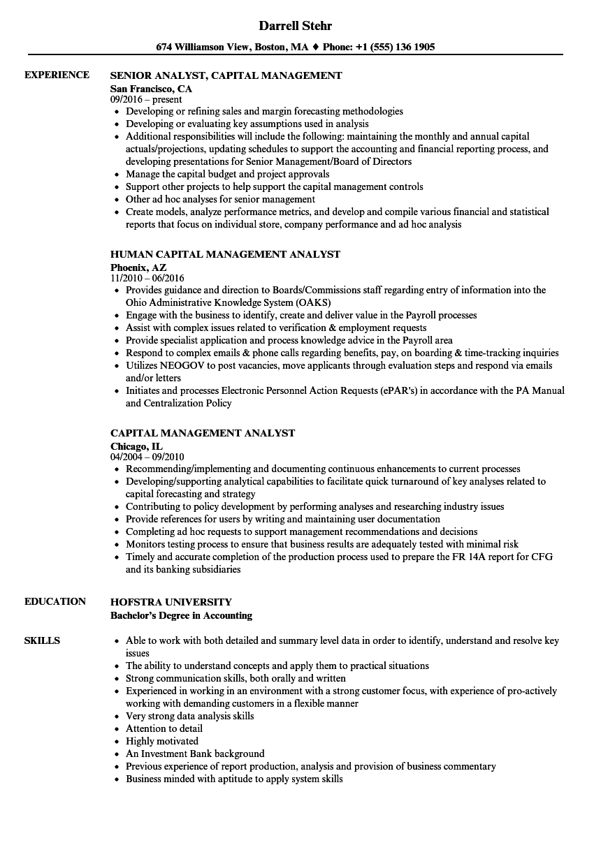 Capital Management Analyst Resume Samples | Velvet Jobs