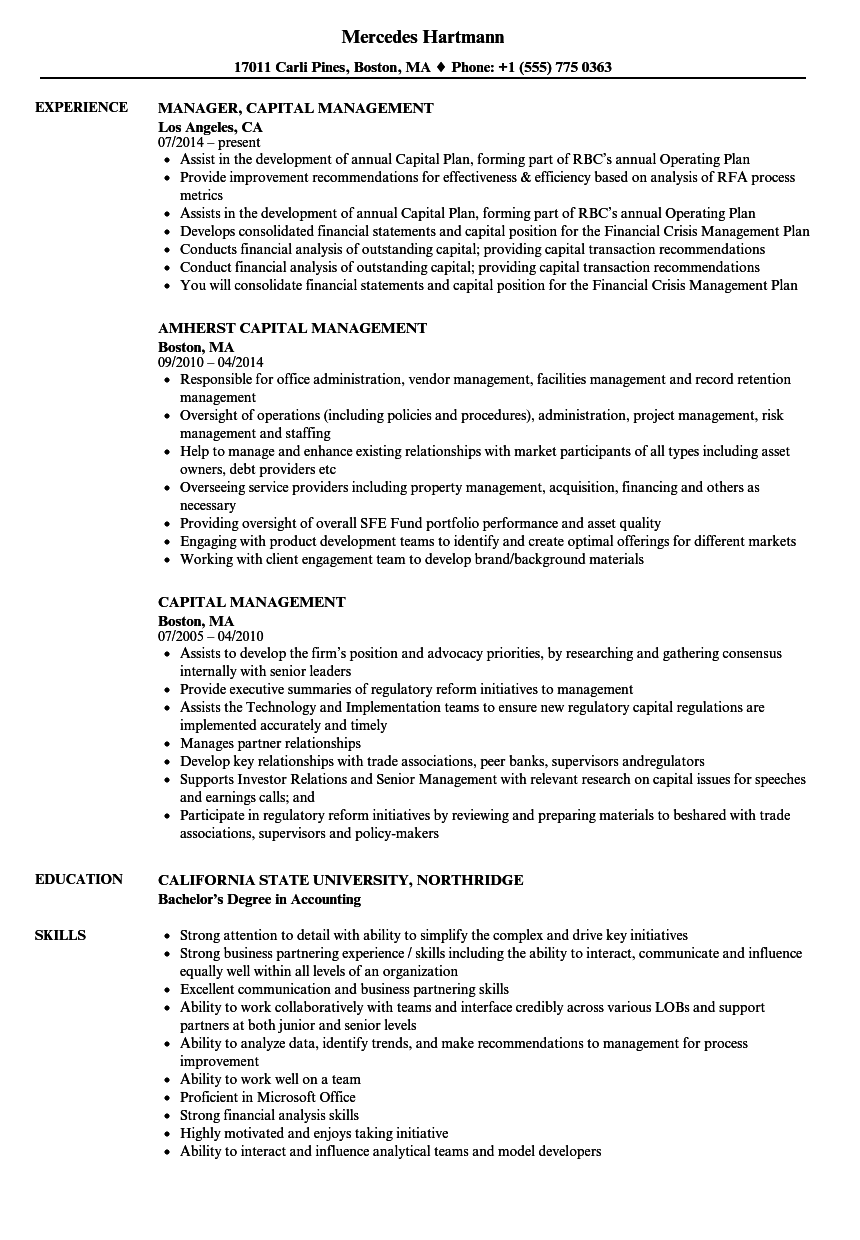 Capital Management Resume Samples | Velvet Jobs