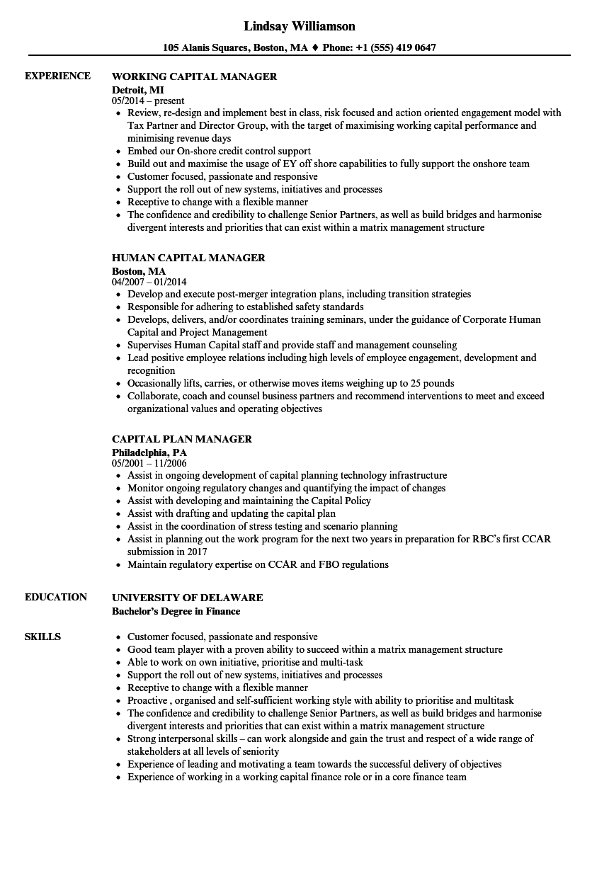 capital manager resume samples