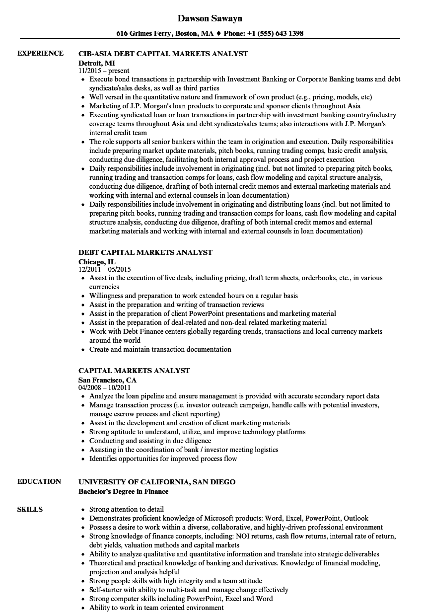 Download Capital Markets Analyst Resume Sample As Image File