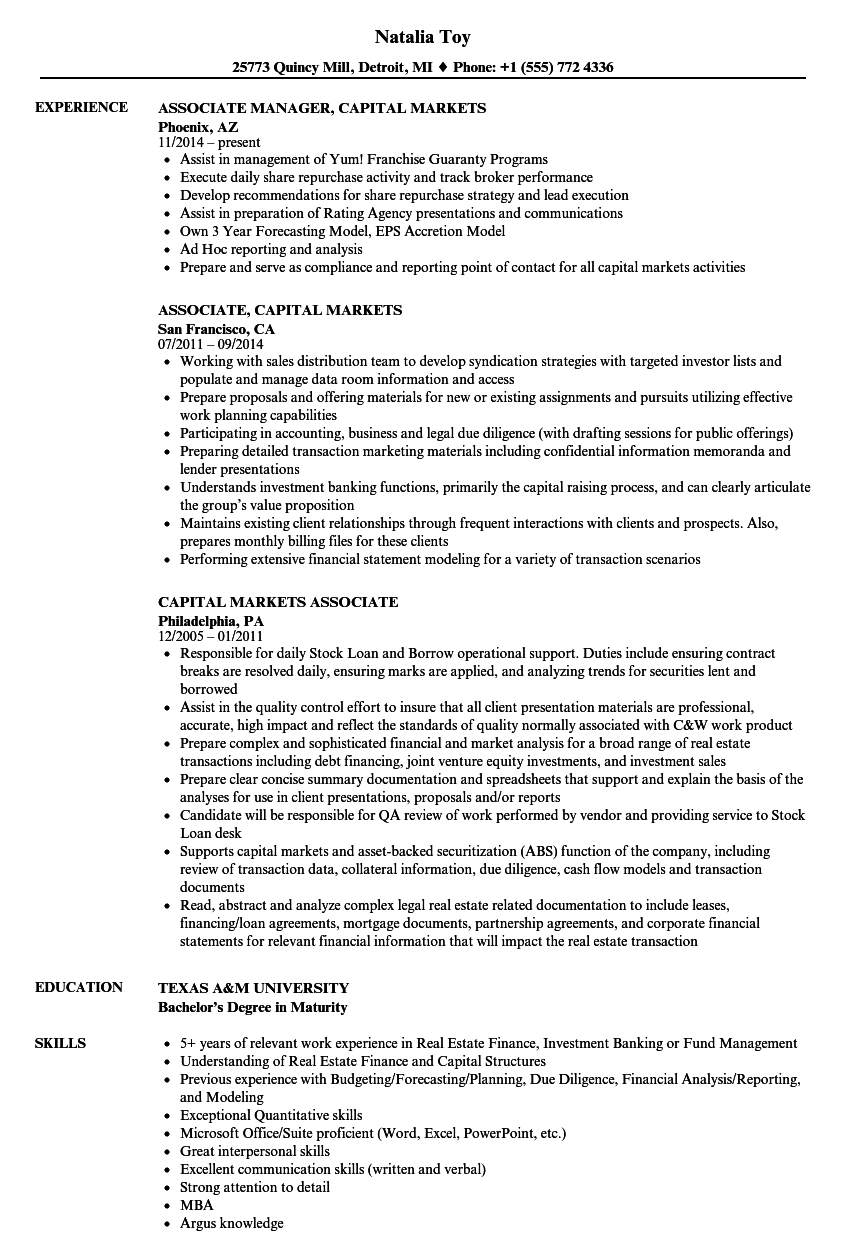 Capital Markets Associate Resume Samples Velvet Jobs