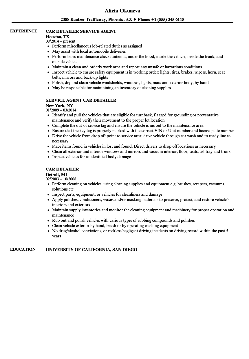 Car Detailer Resume Samples Velvet Jobs