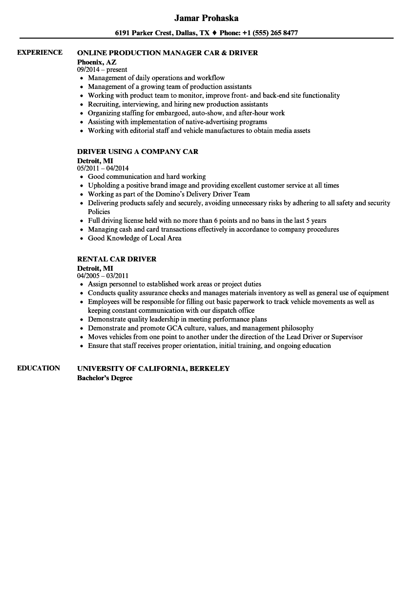 Car Driver Resume Samples Velvet Jobs