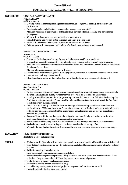 Car dealer job description example.