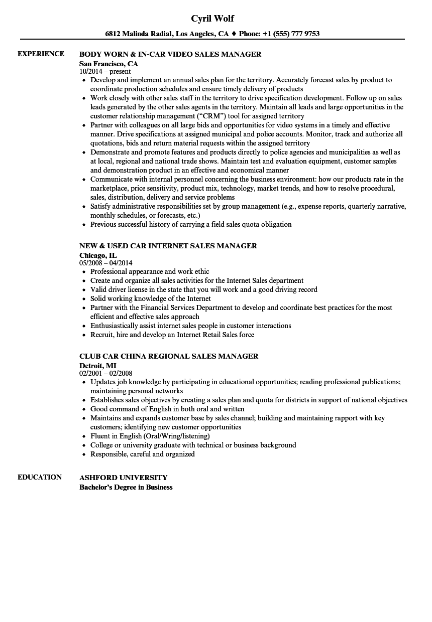 car sales manager resume samples