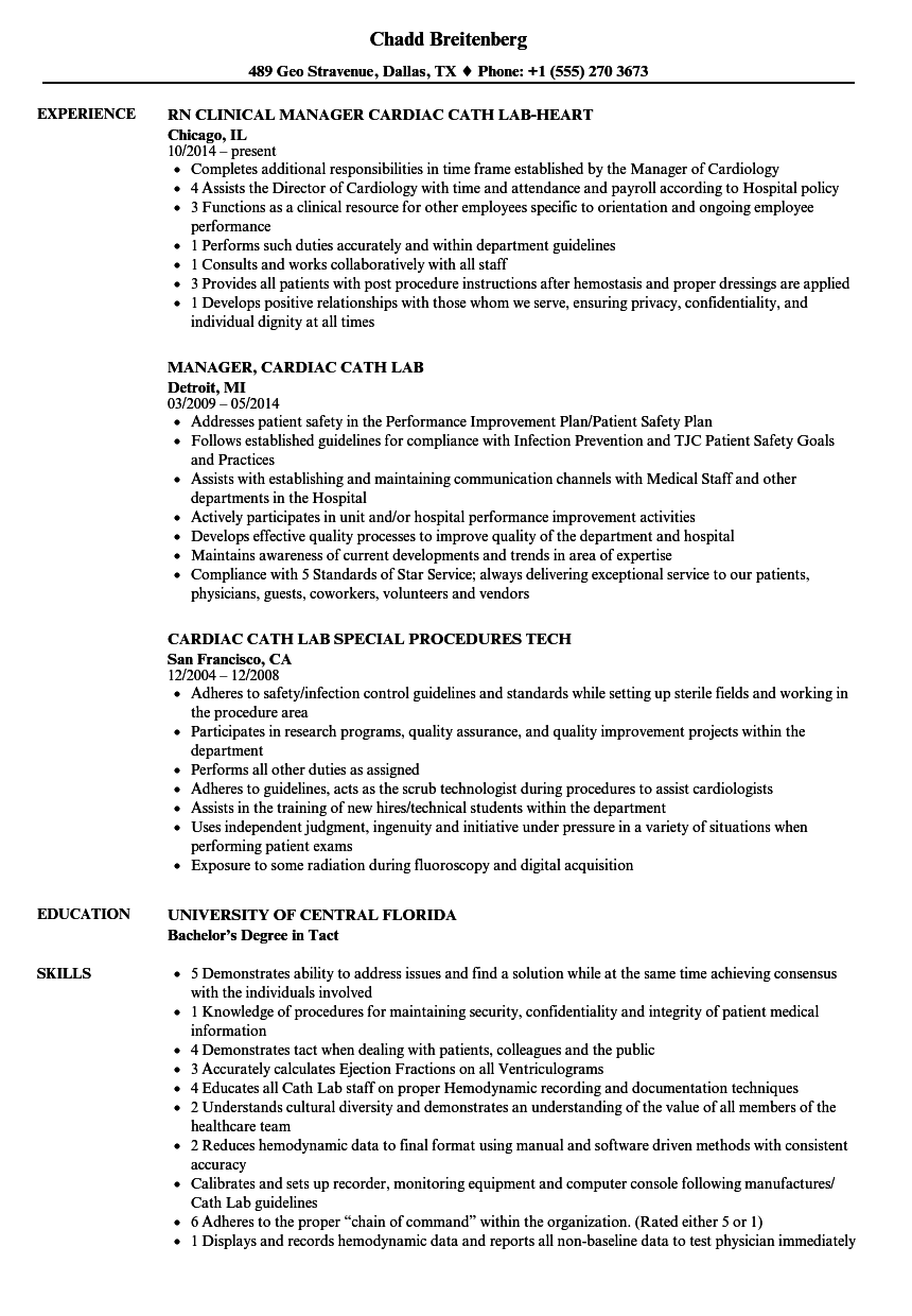 cardiac cath lab resume samples