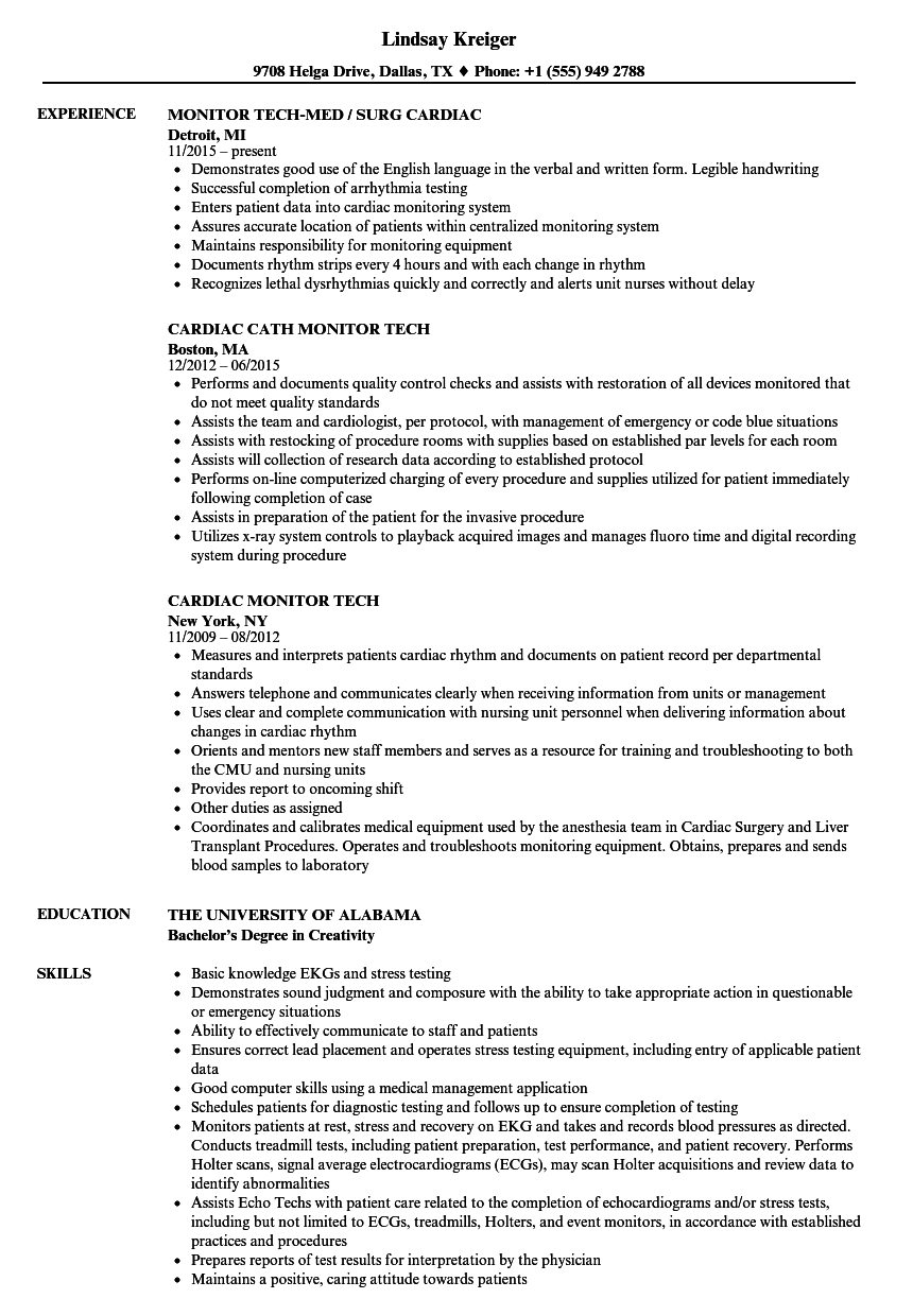 Cardiac Monitor Tech Resume Samples | Velvet Jobs