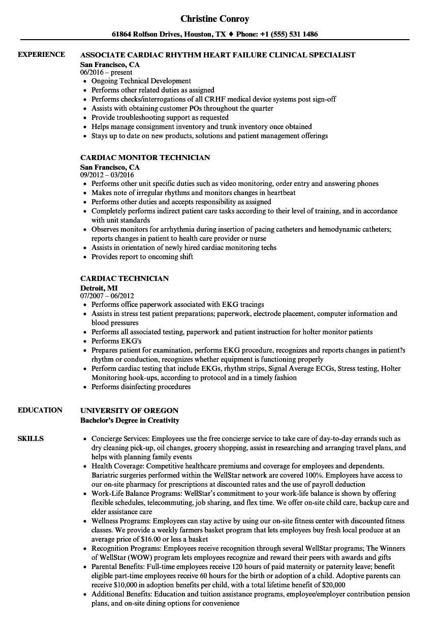 Cardiac Resume Samples | Velvet Jobs