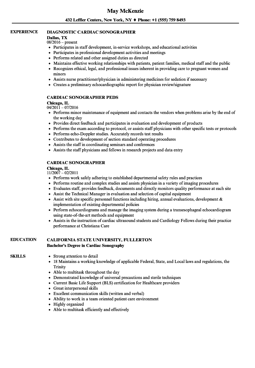 Cardiac Sonographer Resume Samples | Velvet Jobs