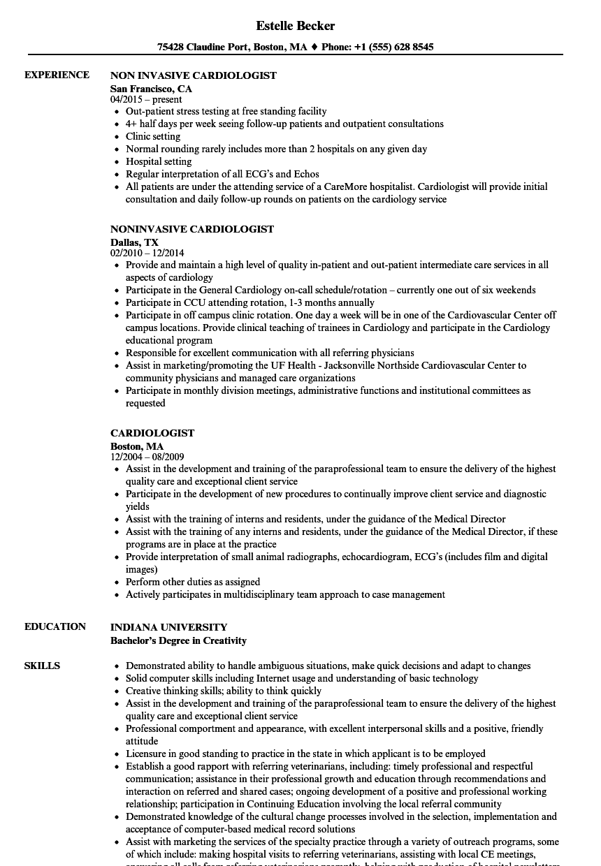 Cardiologist Resume Samples | Velvet Jobs