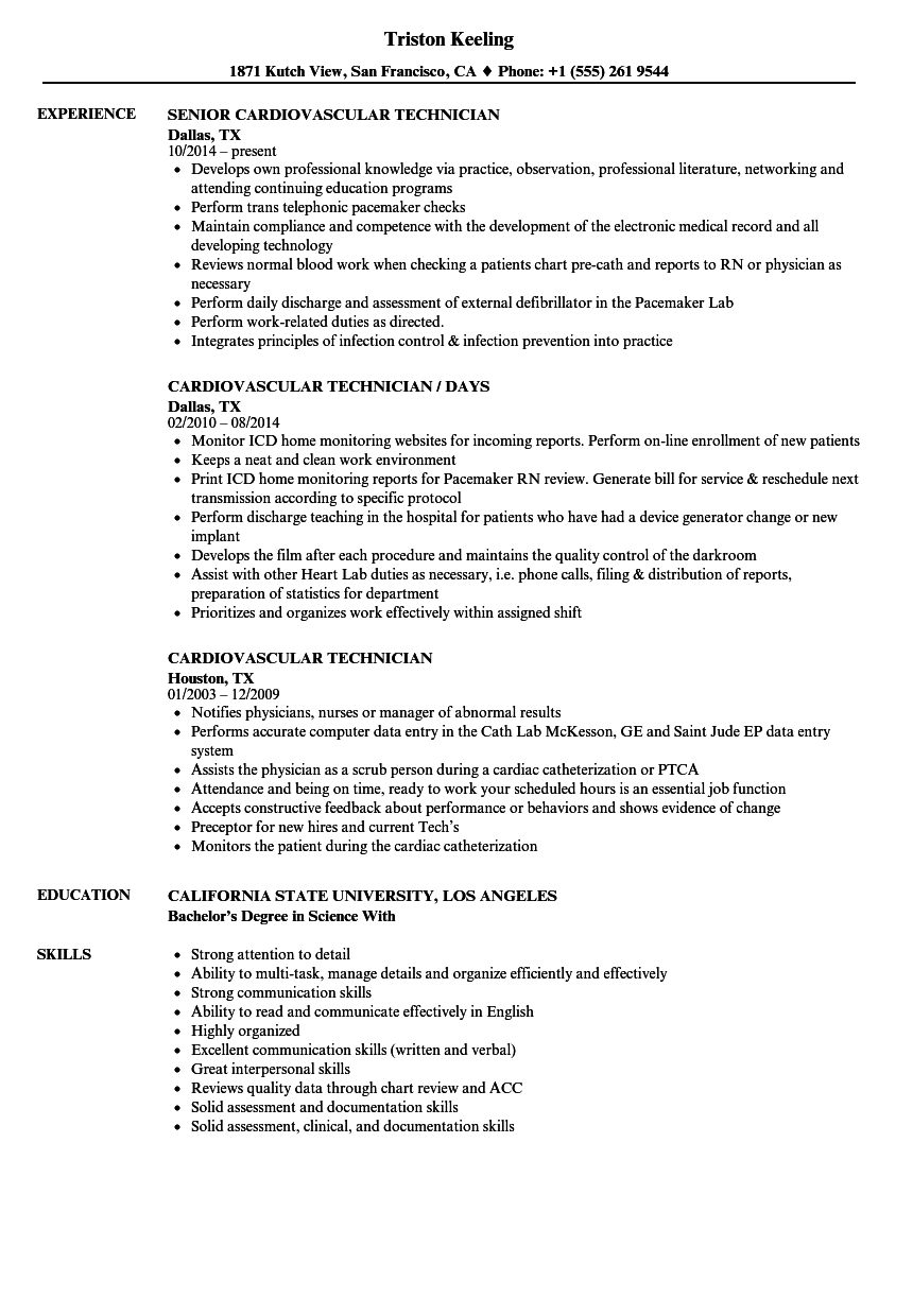 cardiovascular technician resume samples