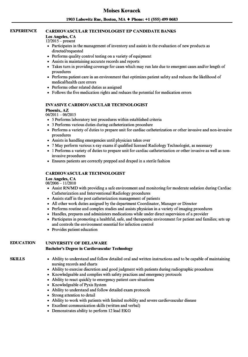 Cardiovascular Technologist Resume Samples | Velvet Jobs