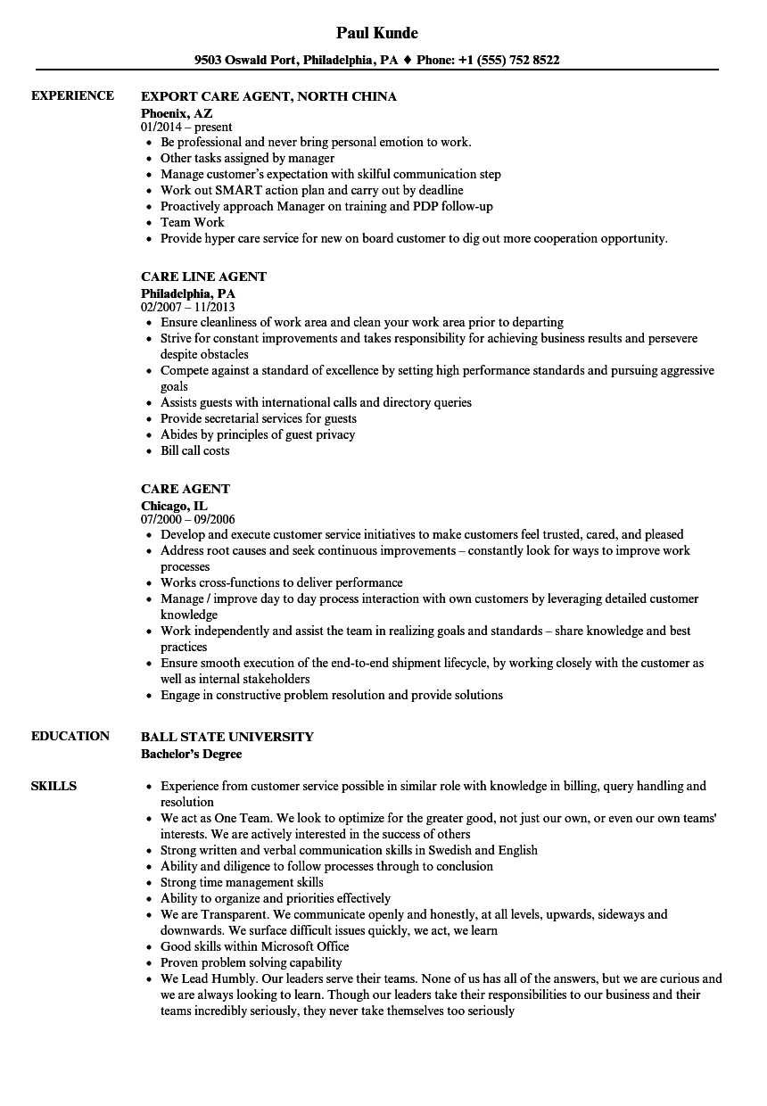 Care Agent Resume Samples Velvet Jobs