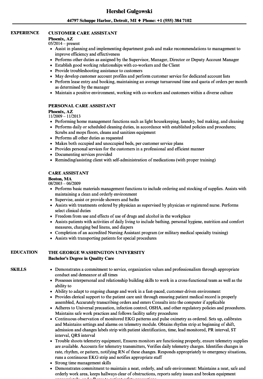 Download Care Assistant Resume Sample As Image File