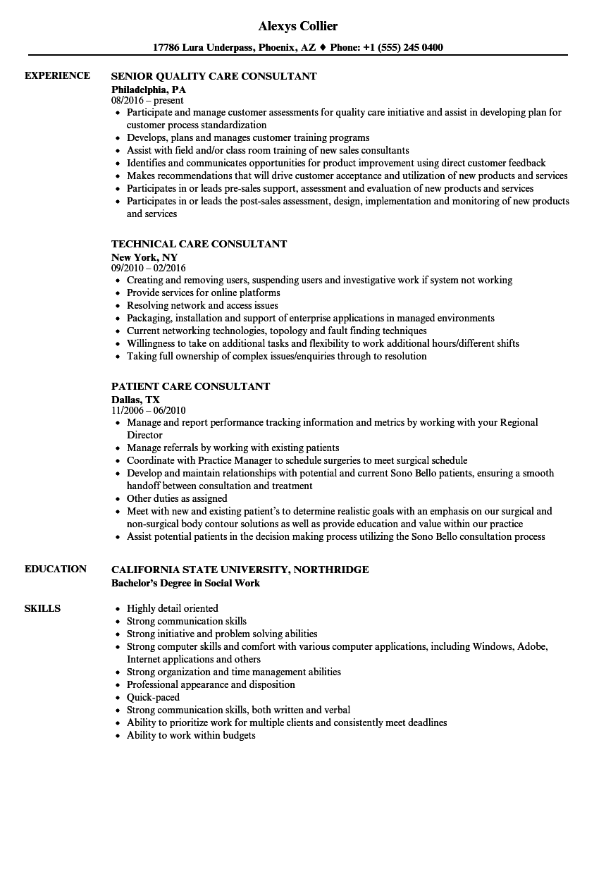 Care Consultant Resume Samples | Velvet Jobs