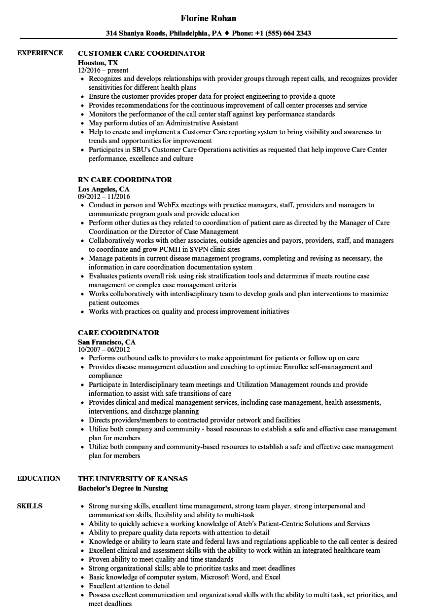 care coordinator resume samples velvet jobs