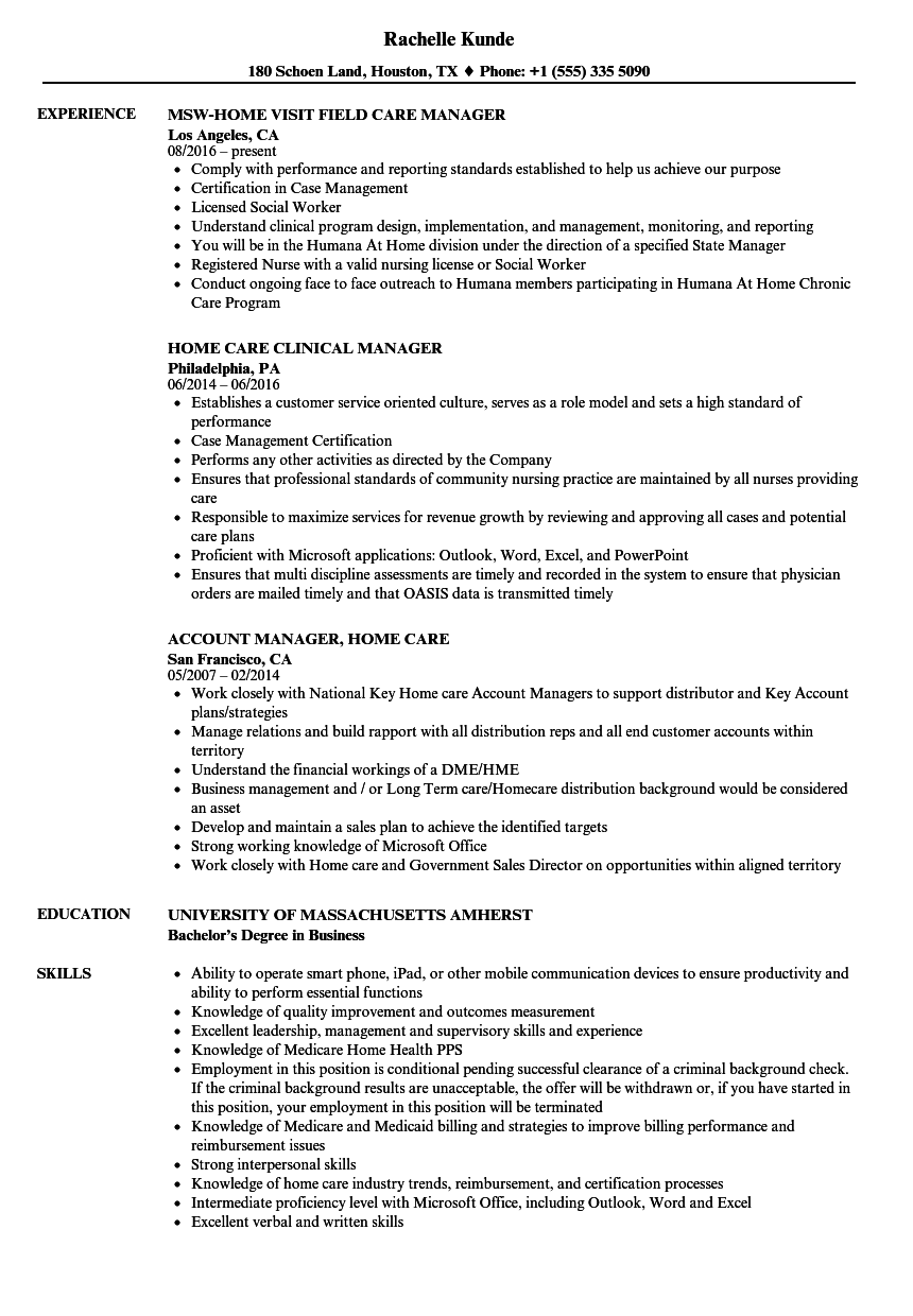 care home manager resume samples